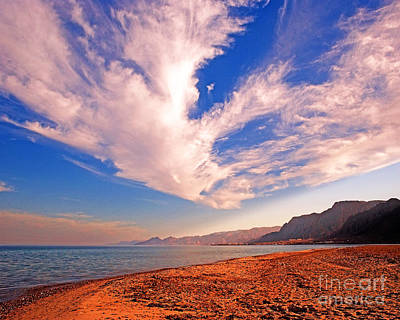 Egyptian Desert Coast And The Red Sea Art Print by Chris Smith