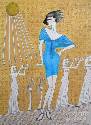 Drawing - Egyptian Evolution by Jayne Somogy