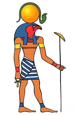 Archaeology Drawing - Egyptian God Of The Sun - Ra by Michal Boubin