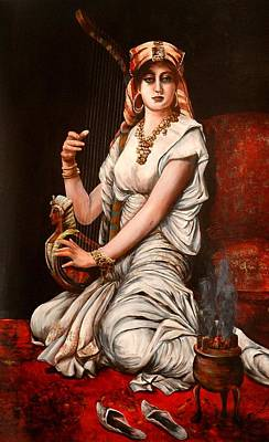 Egyptian Lady With Harp Art Print