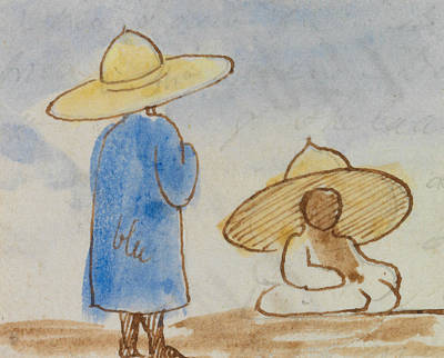 Drawing - Egyptian Men by Edward Lear