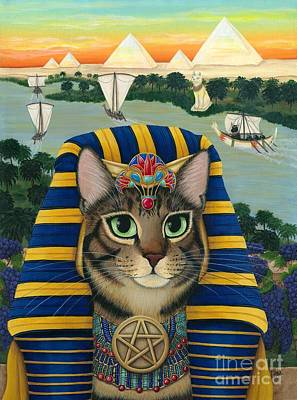 Painting - Egyptian Pharaoh Cat - King Of Pentacles by Carrie Hawks