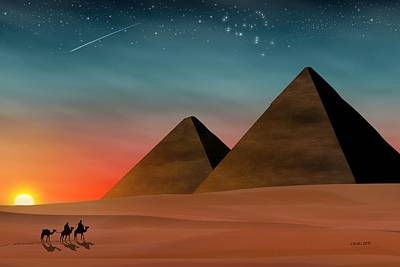 Camel Digital Art - Egyptian Pyramids by John Wills