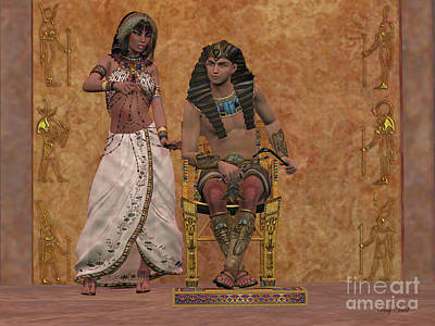 Egyptian Queen Advises Pharaoh Art Print by Corey Ford