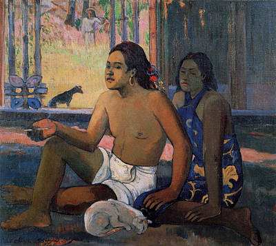 Tobacco Painting - Eiaha Ohipa, Tahitians In A Room by Paul Gauguin