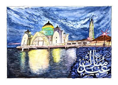 Painting - Eid Greeting Card Masjid Selat Melaka Of Malaysia by Rafay Zafer