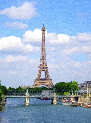 Painting - Eifel Tower From The Seine by Gary Grayson