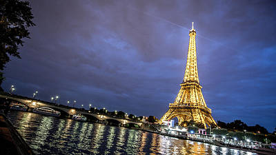 Photograph - Eifel Tower In Lights At Night by Lev Kaytsner