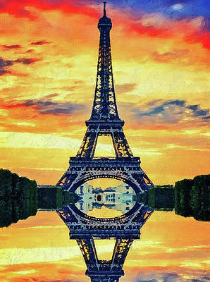 Painting - Eifel Tower In Paris by PixBreak Art