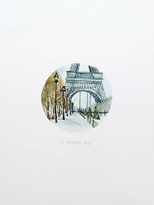 Eiffel Tower Drawing - Eiffel In January by Venie Tee