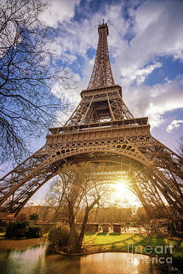 Art Print featuring the photograph Eiffel Sunset by Delphimages Photo Creations
