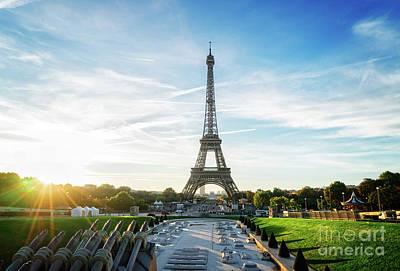 Photograph - Sunrise With Eiffel Tower by Anastasy Yarmolovich