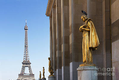 Paris Skyline Royalty-Free and Rights-Managed Images - Eiffel Tour and statues of Trocadero by Anastasy Yarmolovich