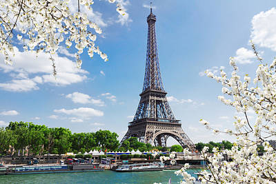 Paris Skyline Royalty-Free and Rights-Managed Images - Eiffel Tour over Seine river by Anastasy Yarmolovich