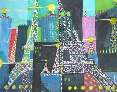 Painting - Eiffel Tour Verywhere No. 3 - 2011 by Jerry W McDaniel