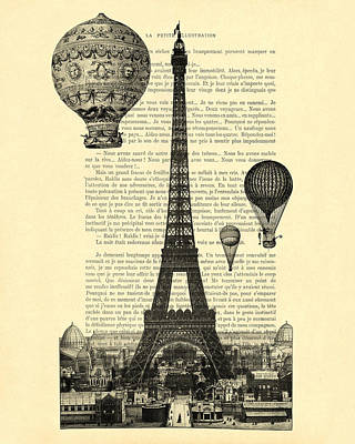 Bonjour Digital Art - Eiffel Tower And Hot Air Balloons by Madame Memento