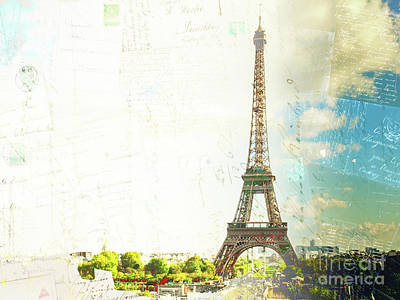 Paris Skyline Royalty-Free and Rights-Managed Images - Eiffel Tower and Paris Postcard by Anastasy Yarmolovich