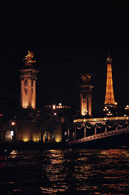 Photograph - Eiffel Tower And Pont Alexander At Night From The Seine River Paris France by Shawn O'Brien
