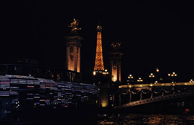 Photograph - Eiffel Tower And Pont Alexander Columns At Night From The Seine River Paris France by Shawn O'Brien