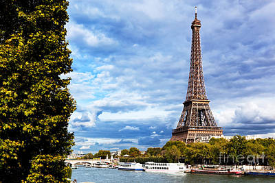 Paris Skyline Royalty-Free and Rights-Managed Images - Eiffel Tower and Seine River Paris by Michal Bednarek