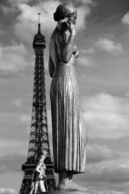 Photograph - Eiffel Tower And Statue 2 by Andrew Fare