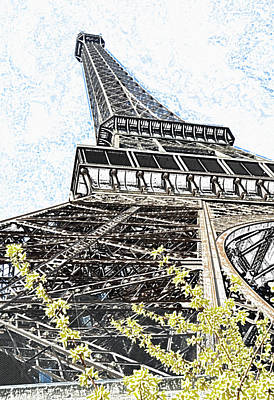 Digital Art - Eiffel Tower And Yellow Blooms Springtime Paris France Colored Pencil Digital Art by Shawn O'Brien
