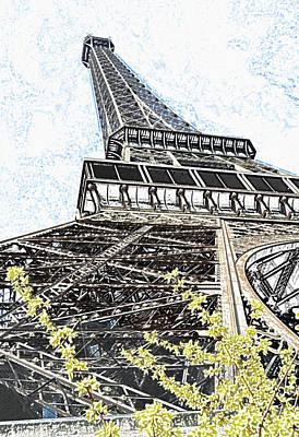 Digital Art - Eiffel Tower And Yellow Blooms Springtime Paris France Colored Pencil Digital Art by Shawn O'Brien