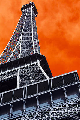 Photograph - Eiffel Tower Angles Pop Art by John Rizzuto