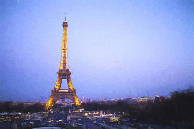 Airplane Paintings - Eiffel Tower at Dusk Van Gogh Style by David Smith