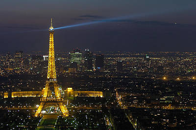 Paris Skyline Photograph - Eiffel Tower At Night by Sebastian Musial