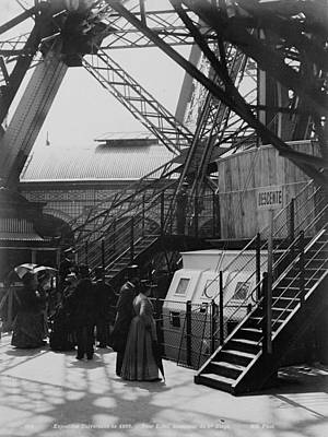 Photograph - Eiffel Tower Basement With Steel Construction, World Exhibition, 1900 by Vintage Printery