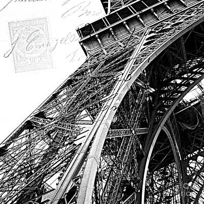 Photograph - Eiffel Tower Black White Structure Architecture Closeup Eiffel Tower French Script  by Kathy Fornal