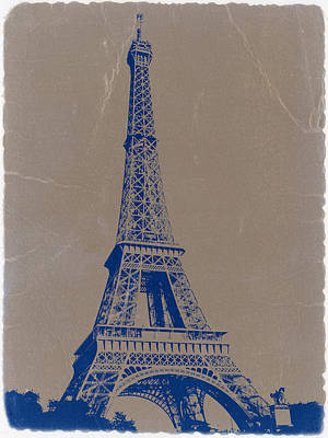 Eiffel Tower Blue Print by Naxart Studio