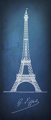 Eiffel Tower Blueprint Minimal Art Print