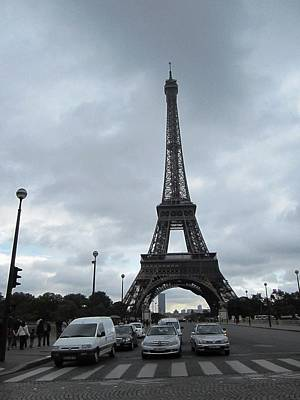 Photograph - Eiffel Tower Clouds V Paris France by John Shiron