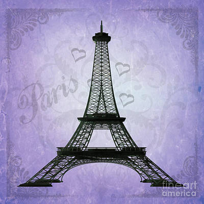 Eiffel Tower Collage Purple Art Print by Jim And Emily Bush