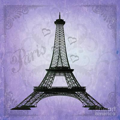 Eiffel Tower Collage Purple Art Print by Jim and Emily Bush
