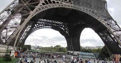 Photograph - Eiffel Tower Crowd Paris France by John Shiron