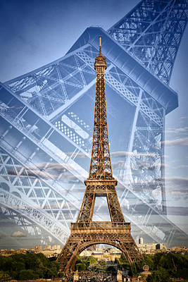 Eiffel Tower Double Exposure II Art Print
