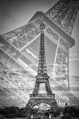Eiffel Tower Double Exposure II Monochrome Art Print