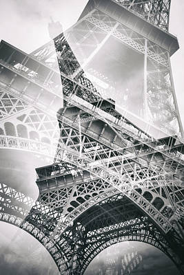 Eiffel Tower Double Exposure Art Print