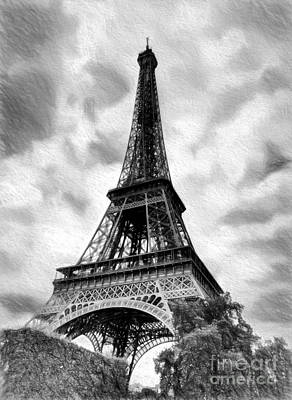 Photograph - Eiffel Tower Dream Bw by Mel Steinhauer