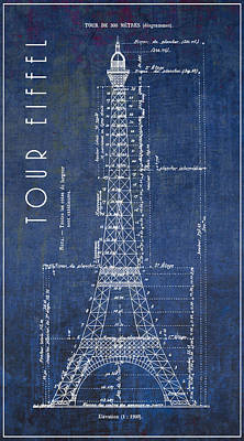 Eiffel Tower Engineering Blueprint  1886 Art Print