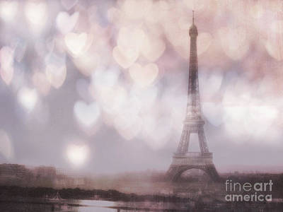 Photograph - Eiffel Tower Ethereal Surreal Dreamy Romantic Bokeh Hearts - Eiffel Tower Dreamy Romantic Art by Kathy Fornal
