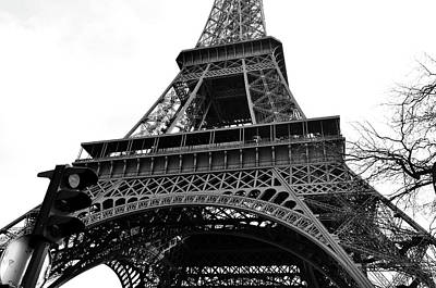 Photograph - Eiffel Tower First And Second Floor Perspective With Red Stoplight Black And White by Shawn O'Brien