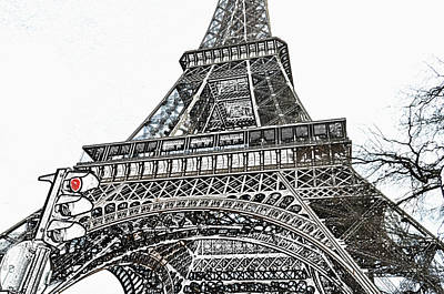 Eiffel Tower First And Second Floor Perspective With Red Stoplight Colored Pencil Digital Art Art Print