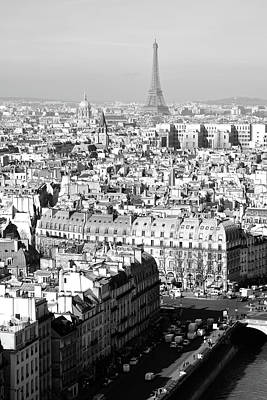 Photograph - Eiffel Tower From A Distance Paris France Black And White by Shawn O'Brien