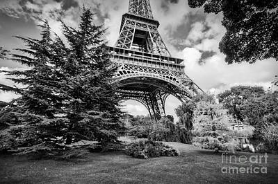 Photograph - Eiffel Tower From Champ De Mars Park In Paris, France. Black And White by Michal Bednarek
