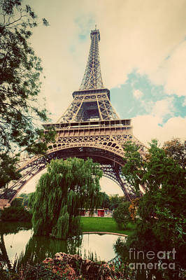 Photograph - Eiffel Tower From Champ De Mars Park In Paris, France. Vintage by Michal Bednarek