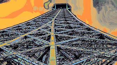 Built Structure Mixed Media - Eiffel Tower by GabeZ Art